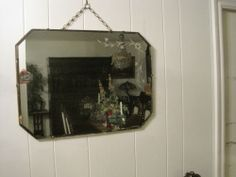 "Vintage Beveled Deco Wall Mirror Floral Etched Quality European Made 24"" x 18"" 