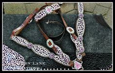 Custom pink leopard tack set w/matching wool saddle pad, for a little girl and her big paint horse! :)