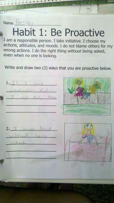 Habit 1 work in Mrs. McCool's 3rd grade classroom.