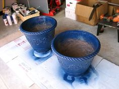 Painting terra cotta pots with Thompson WaterSeal on the inside, and Valspar Gloss Spray on the outside