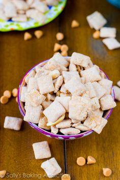 5 Ingredient Butterscotch Peanut Butter Puppy Chow aka Muddy Buddies.  Easy, addicting, and no-baking involved!  via sallysbakingaddiction.com