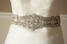 Antique Silver Bridal Wedding Sash  18 inches Made by MillieICARO, $185.00
