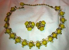 vintage art glass rhinestone necklace and earrings Kramer | eBay