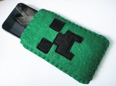 Felt Minecraft Creeper cell phone sleeve 