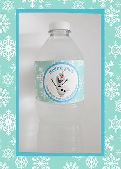 DIGITAL FILE_- FROZEN inspired Olaf Water Bottle Wrappers-  Melted Snow, Some people are worth Melting for.