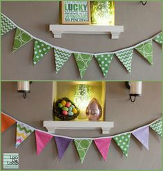 Reversible St Patrick's Day Easter Spring Fabric Bunting Banner Garland by LooDeLoop