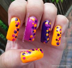 Glittery Fingers & Sparkling Toes: Neon Dots