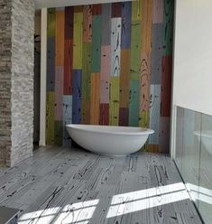 Beautiful Marble Floor Design to Your House: Naturally Bathroom Floor Designs With Rustic Wooden Decoration Ideas Colorful Plank Wall Nearby...