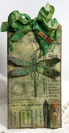 Green Glitter Dragonfly Tag...Anne's paper fun: A Compendium of Curiosities.