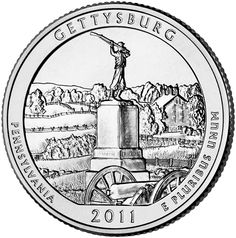"""Reverse of 2011 """"America the Beautiful"""" United States quarter dollar #coin, depicting Gettysburg National Military Park. Available now at Lear with IRA Eligibility. Call (800) 783-1407 for more info or visit http://www.learcapital.com/encyclopedia/269/moredetail.html"""