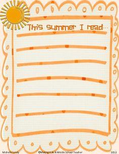 This Summer I Read....Blank List