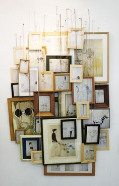 = bunched hanging wall of art