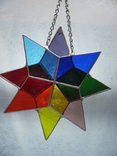Stained Glass Rainbow Star by PrismStainedGlass on Etsy, $22.00