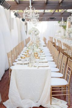 long white tables with gold details | Photography by erinheartscourt.com | Floral Design and Decor by nicosb.com |   Read more - http://www.stylemepretty.com/2013/07/09/santa-barbara-wedding-from-erin-hearts-court/