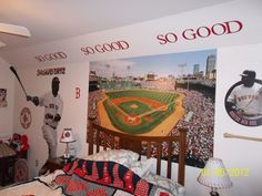 A fan's Red Sox guest room.