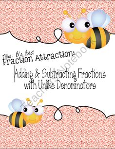 Fraction Attraction Pack: Add and Subtract Fractions with Unlike Denominators product from Mrs-Bs-Best on TeachersNotebook.com