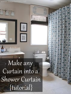 SHOWER CURTAINS :: Make ANY Curtain into a Shower Curtain Tutorial :: This is a NO SEW project. You just need some drapes that match your bathroom, a shower curtain liner that's the length of the curtains [she found an extra long one at BB] & some ball-style shower hooks. | #nosew #showercurtain #sasinteriors
