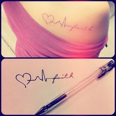 Baby's first heartbeat leading into their name, I love this idea! Not a tattoo though