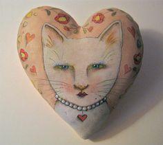 cat Art pillow- Honey West fancy cat - fabric sculpture- hand painted on canvas pillow- heart pillow- fancy white cat- pearls- wall art- sofa art