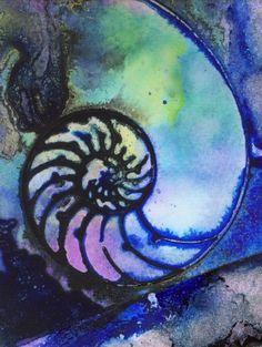 shades of purple, art paintings, sea art, contemporary art, nautilus shell, paint frame, contemporari modern, origin contemporari, art projects