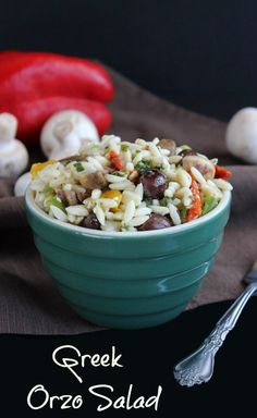 Greek Orzo Salad is loaded with little pasta kernels and lots of flavorful veggies. Tossed in a lemony vinaigrette that is seasoned perfectly. Easy plus!!!