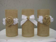 Burlap Rustic Wedding Decor Candleholder Vase Centerpiece