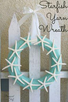 Starfish Yarn Wreath @Courtney Baker Carmean (A Diamond in the Stuff)