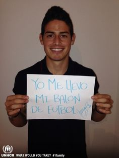 If international footballer James Rodriguez was forced to flee, the most important thing he would bring with him is his football.