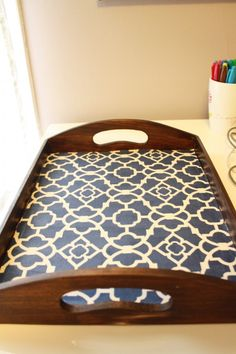 tray + mod podge + scrapbook paper