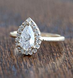 Wilson Diamonds: Custom Pear Ring #peardiamond #yellowgold #WilsonDiamonds