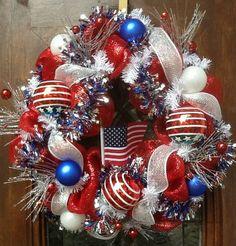 Mesh patriotic wreath