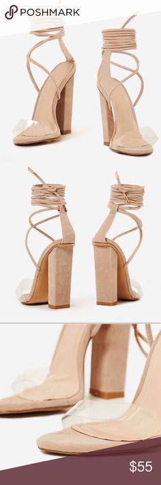 "Hello Nude Heels Bello lace up block heel is the must have heel with clear front strap and block high heel. Great for any season   Material: faux Suede  Available Colours: NUDE   Heel Height: 4""/10cm Shoes Heels"