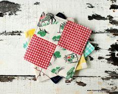 DIY Vintage Scrappy Patchwork Fabric Coasters