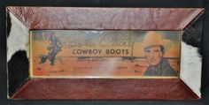 Leather and Cowhide Trim Picture Frame with Legendary Gene Autry Cowboy Boots Picture www.gugonline.com $37.95