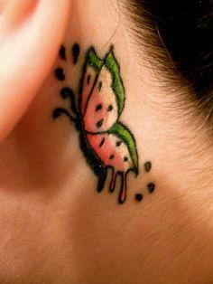 Such a cute watermelon butterfly tattoo!