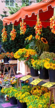 Flower Seller in open-air market, Mainz, Germany.