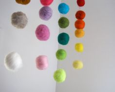 BABY MOBILE  giant felted rainbow balls wool by SewnNatural, $105.00