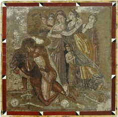 Fight of Theseus with Minotaur.  Mosaic from Chieti. Inv. No. 10018. Naples, National Archaeological Museum.
