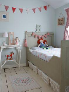 cute little girls room, note baskets under bed