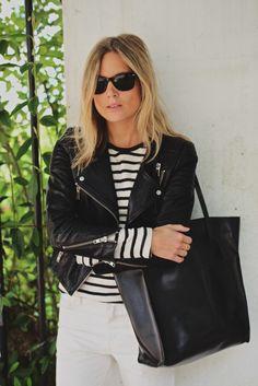 Black + white + leather + stripes.
