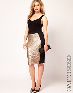 ASOS CURVE Pencil Skirt With Sequin Panel