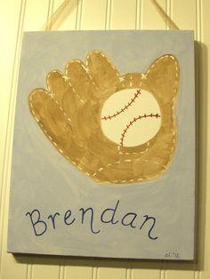 "boys kids room decor..baby nursery wall art..original canvas painting..painted artwork..11 x 14 PERSONALIZED baseball mitt glove ""play ball"""