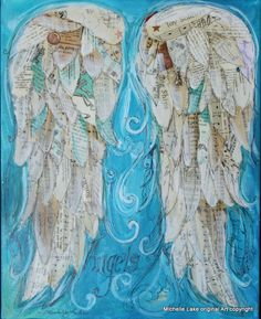 Wings of Love Mixed media original Titled ANGELS by grafittigirl