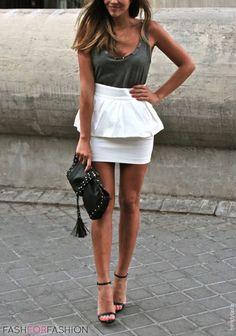 peplum skirt + embellished tank