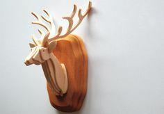 Mini Wooden Deer Bust Trophy