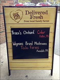Farm Fresh Produce Delivery Chalkboard at Wegman's Crosswalk