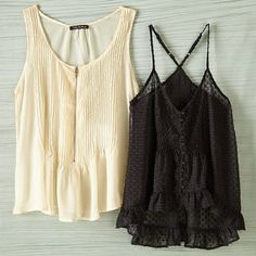 Cute Tank Tops in Ivory and Black