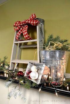 cute christma centerpiec, holiday, christma everyday, christmas centerpieces, christma decor, primit decor, christma centrepiec, christma ladder, bow