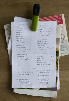 Personalized weekly grocery list. Clip the grocery list and recipes for the week together and hang on the fridge