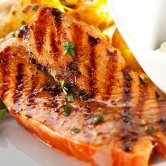 A glazed salmon recipe with Brown Sugar and Mustard Glaze